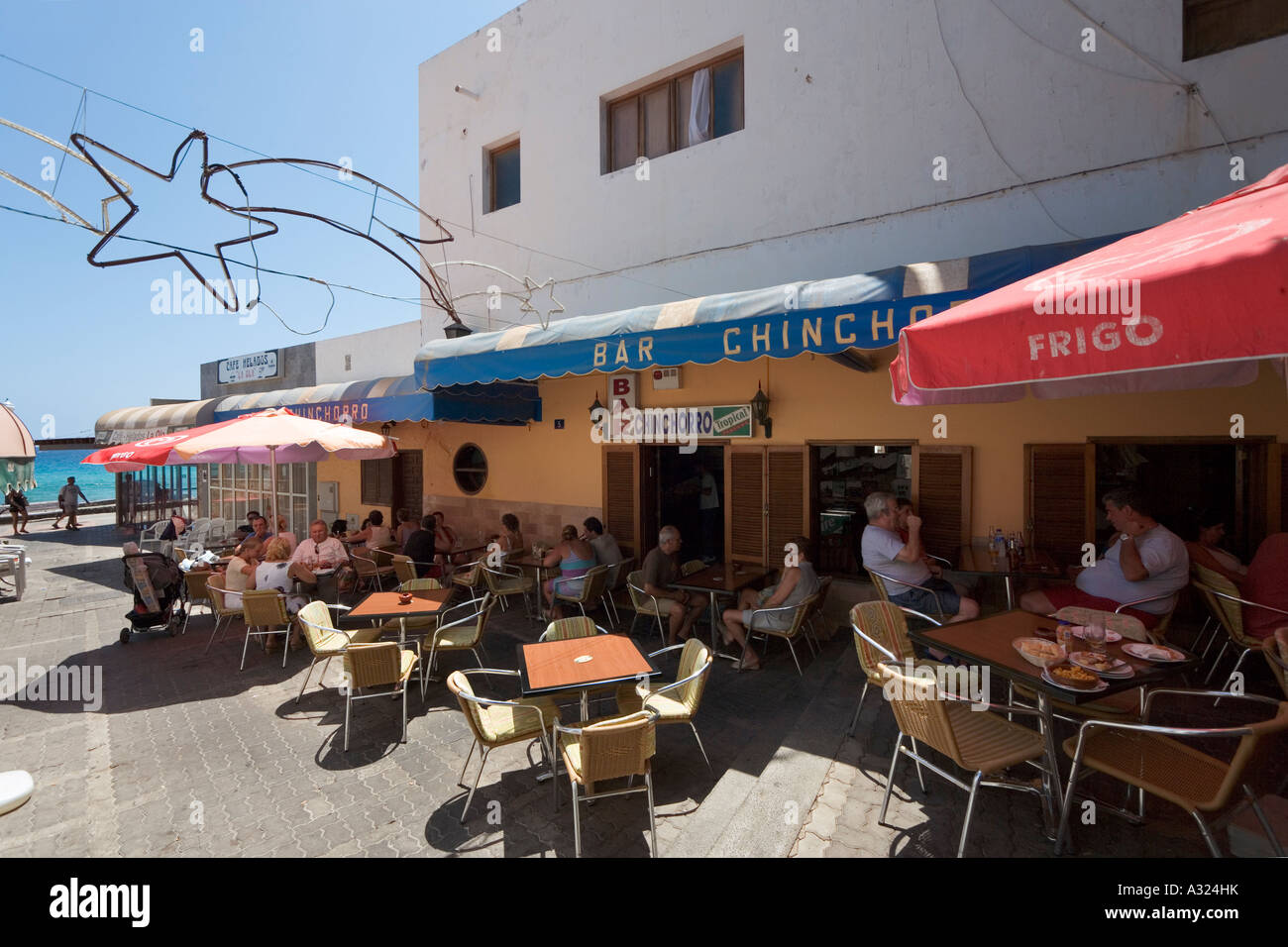Cafe in the vieux port terra vecchia bastia corsica france stock - Seafront Restaurant In The Old Town Jandia Morro Jable Fuerteventura Canary