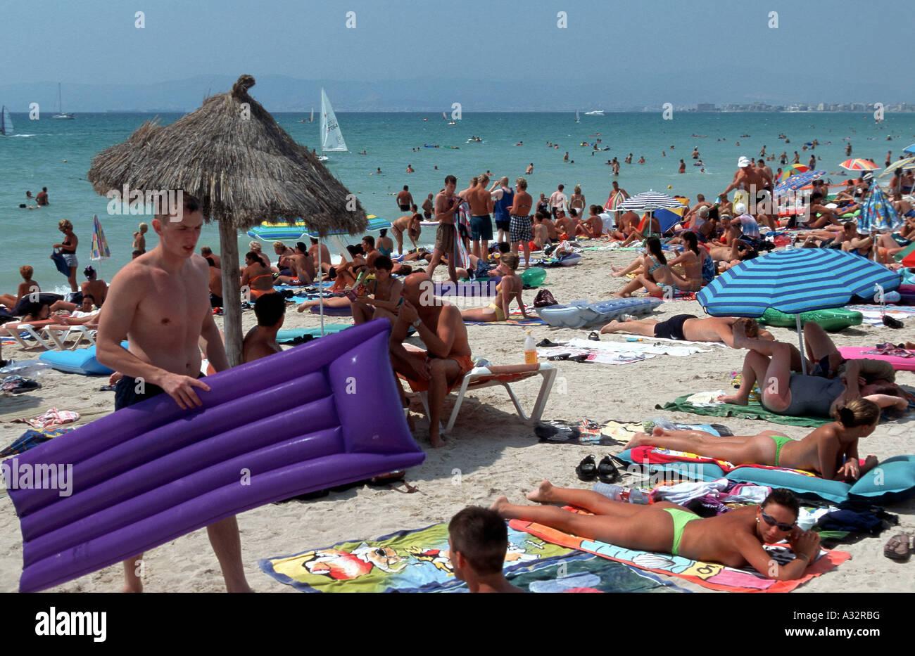People At A Beach Mallorca Spain