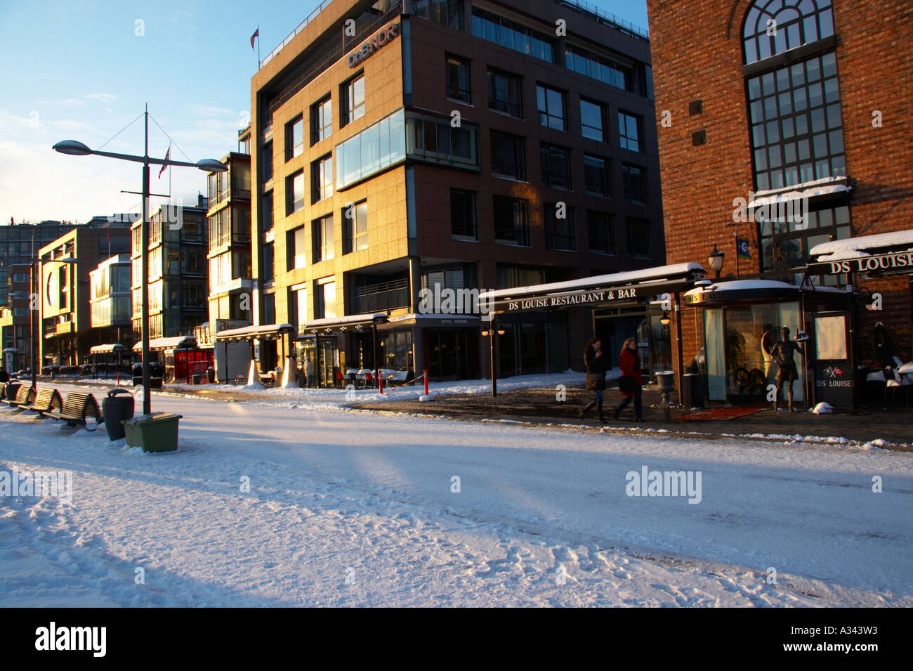 Norway, Oslo, Oslo City. Late afternoon winter light ...