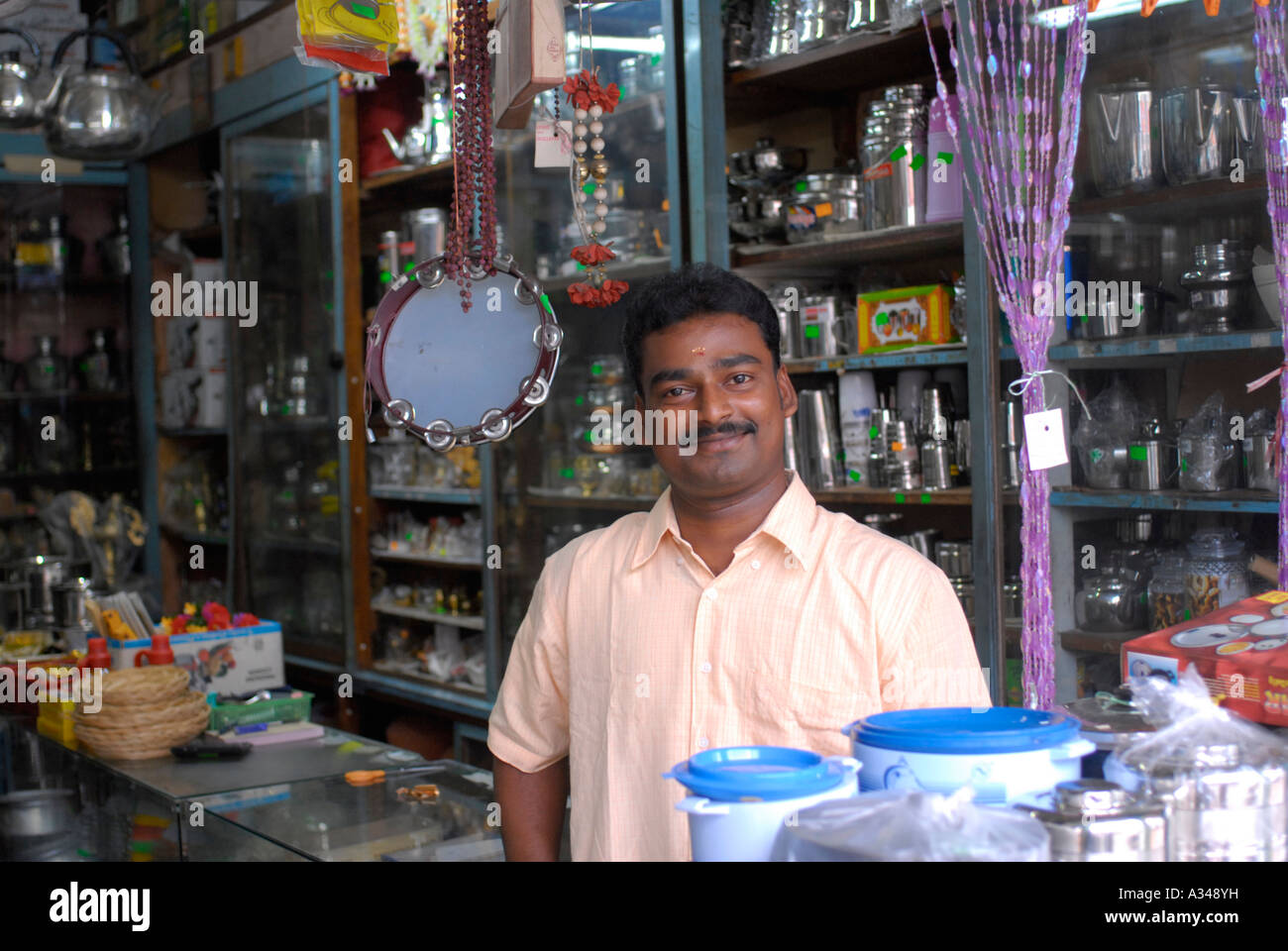 Indian Small Business Owner Standing In His Shop Little India Stock Photo R
