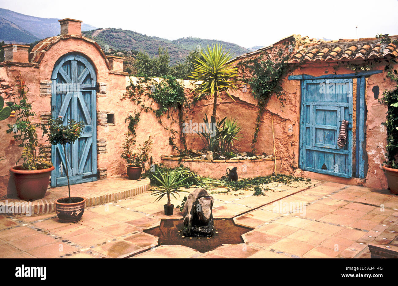 Corner Of A Spanish Patio Or Courtyard Garden At The Finca El Cerrillo  Andalusia Southern Spain
