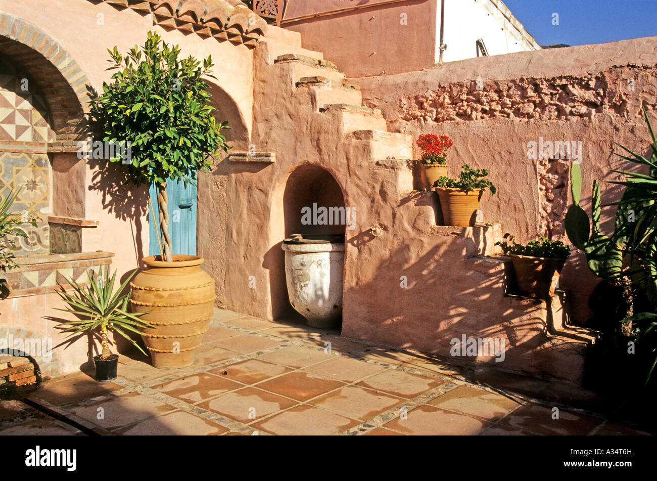 Corner Of A Spanish Patio Or Courtyard Garden At The Finca El Cerrillo  Andalusia Southern Spain Europe EU