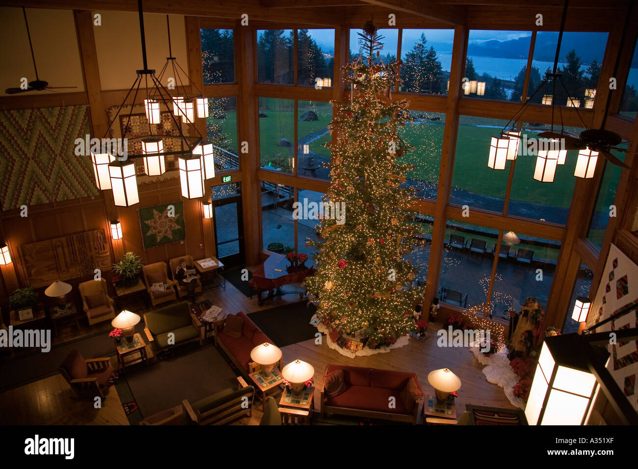 30 foot tall Christmas tree stands in lobby of Skamania Lodge ...