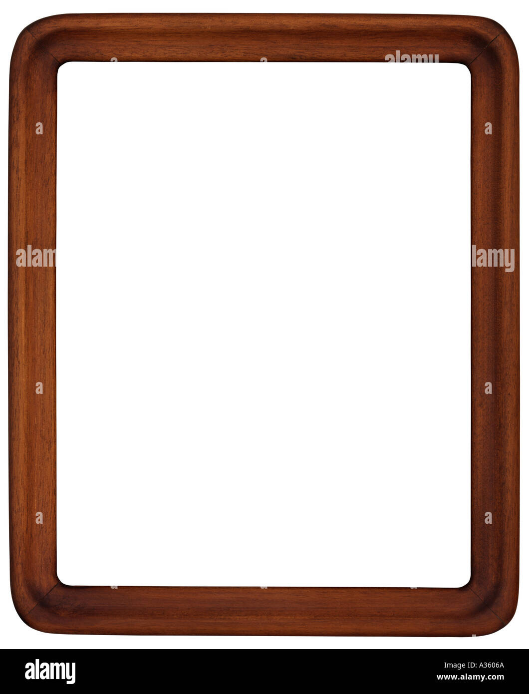 a vertical rectangular brown stained wooden frame with curved or  - a vertical rectangular brown stained wooden frame with curved or roundededges