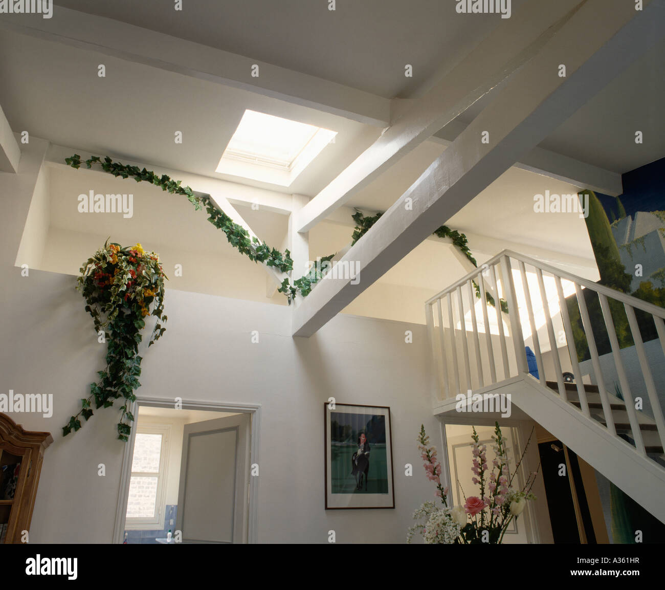Trailing Green Plants On Landing And Staircase In Modern White Loft  Conversion
