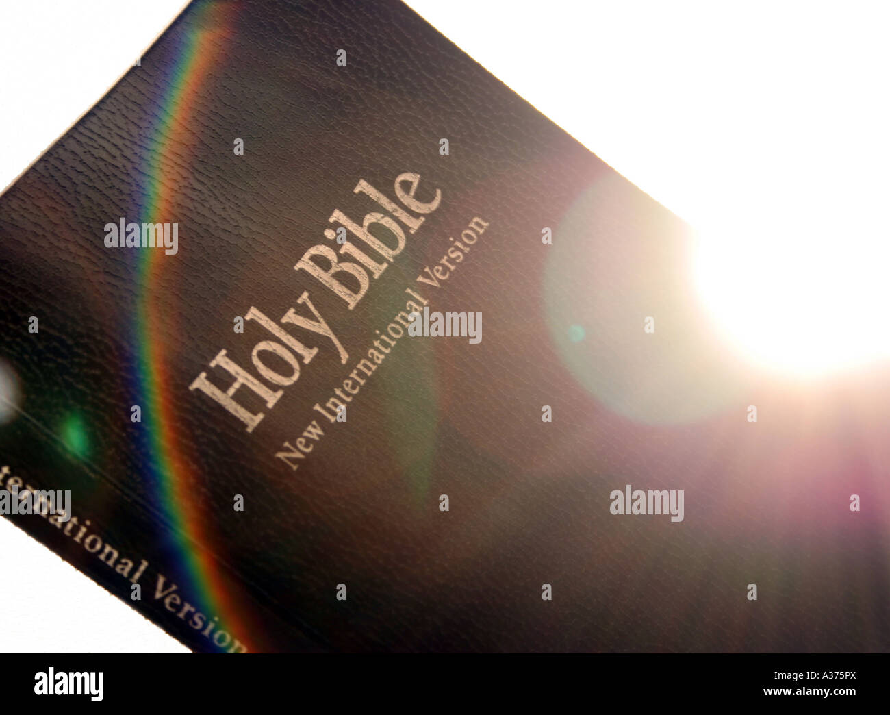 holy bible with lens flare and rainbow stock photo royalty free