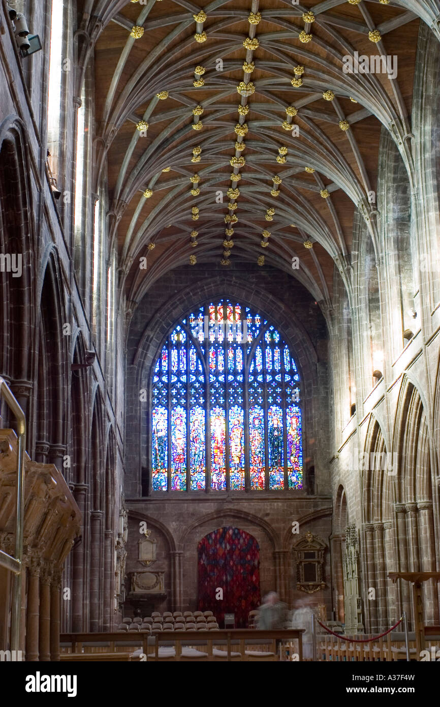 Stained Glass Window And Gothic Revival Interior Of Chester Cathedral North West England Heritage Site