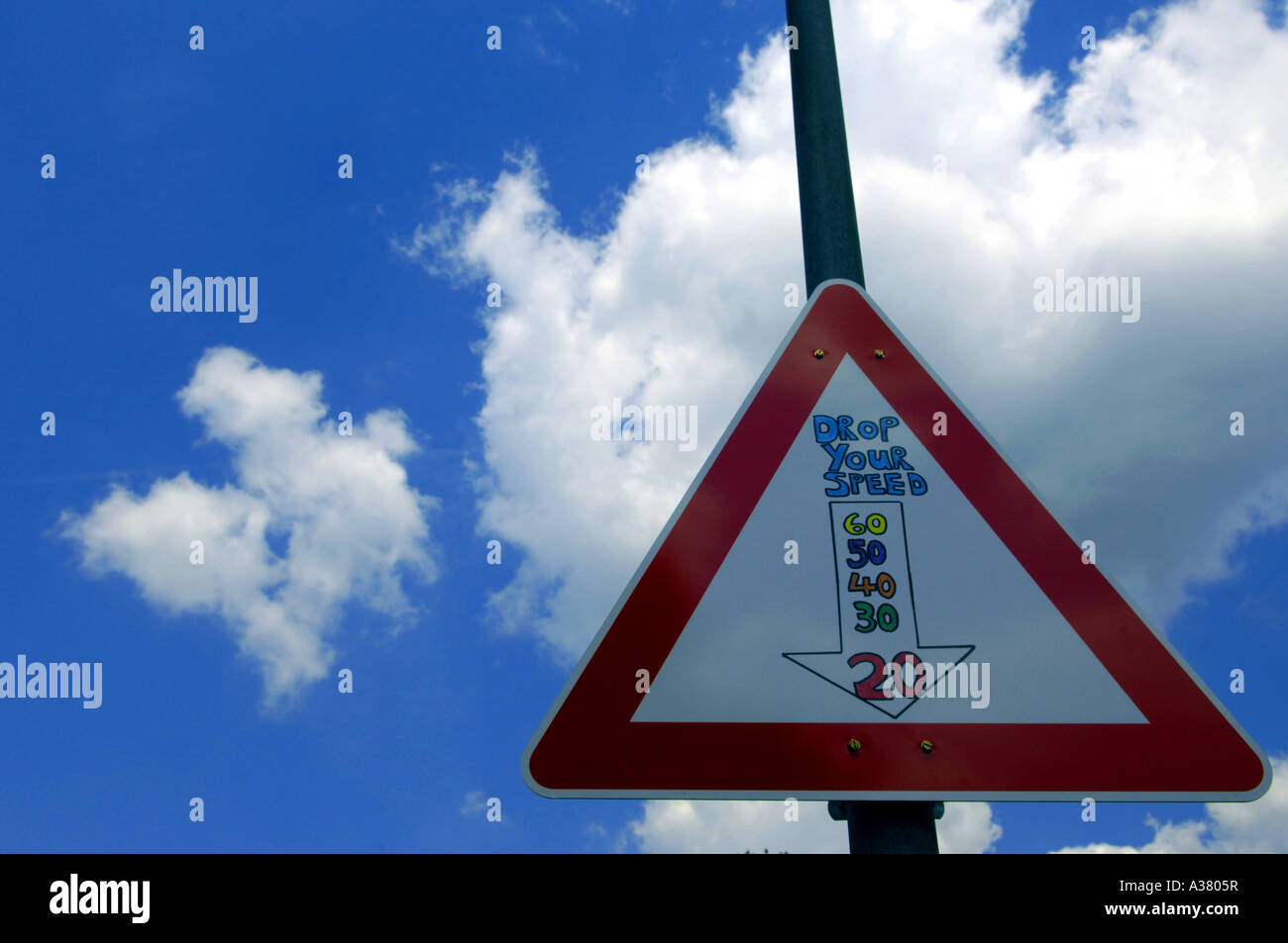 Is Blue A Calming Color slow down red triangle road sign traffic calming measures blue sky