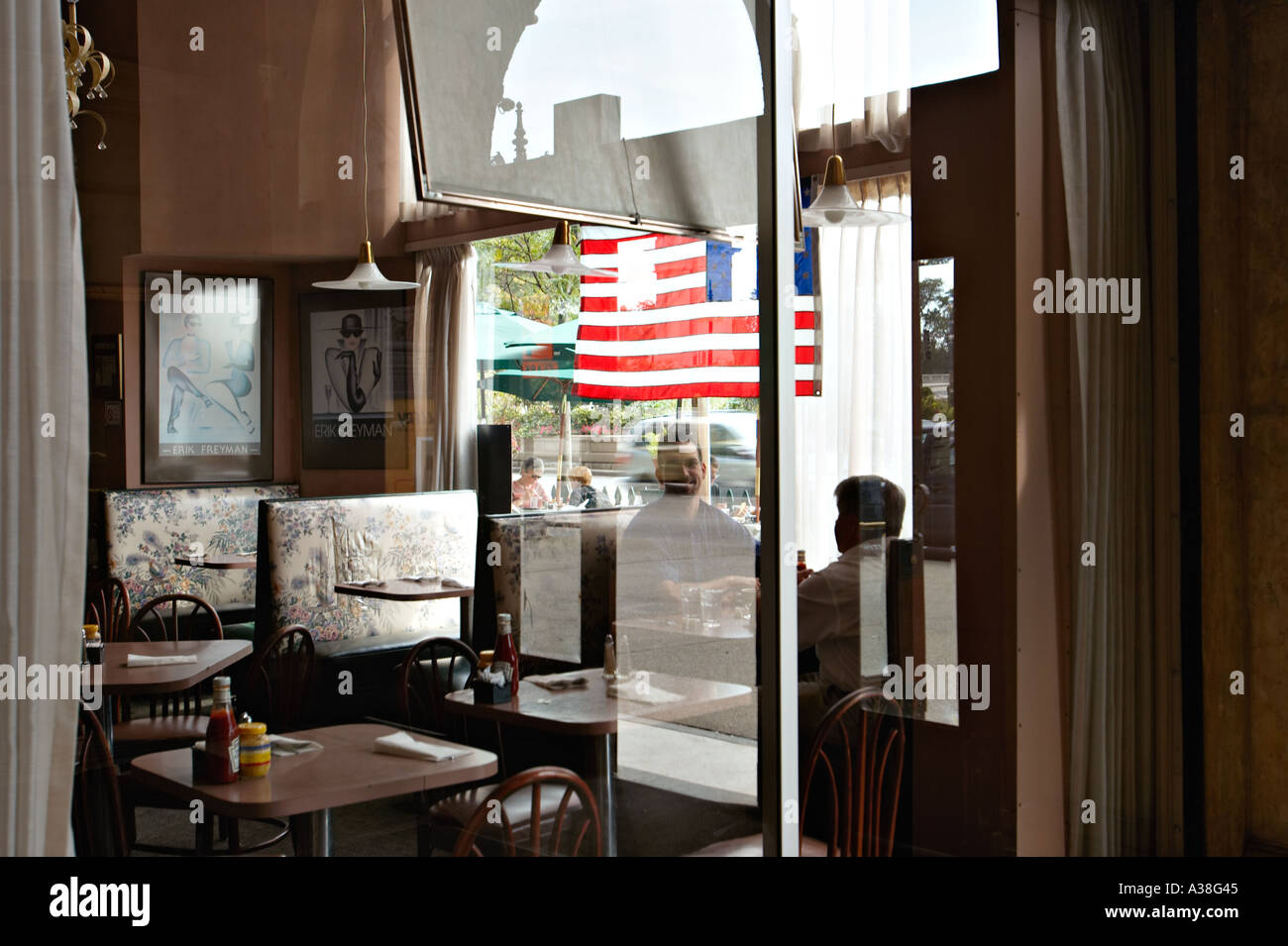 Sit In Window illinois chicago two men sit booth coffee shop along michigan