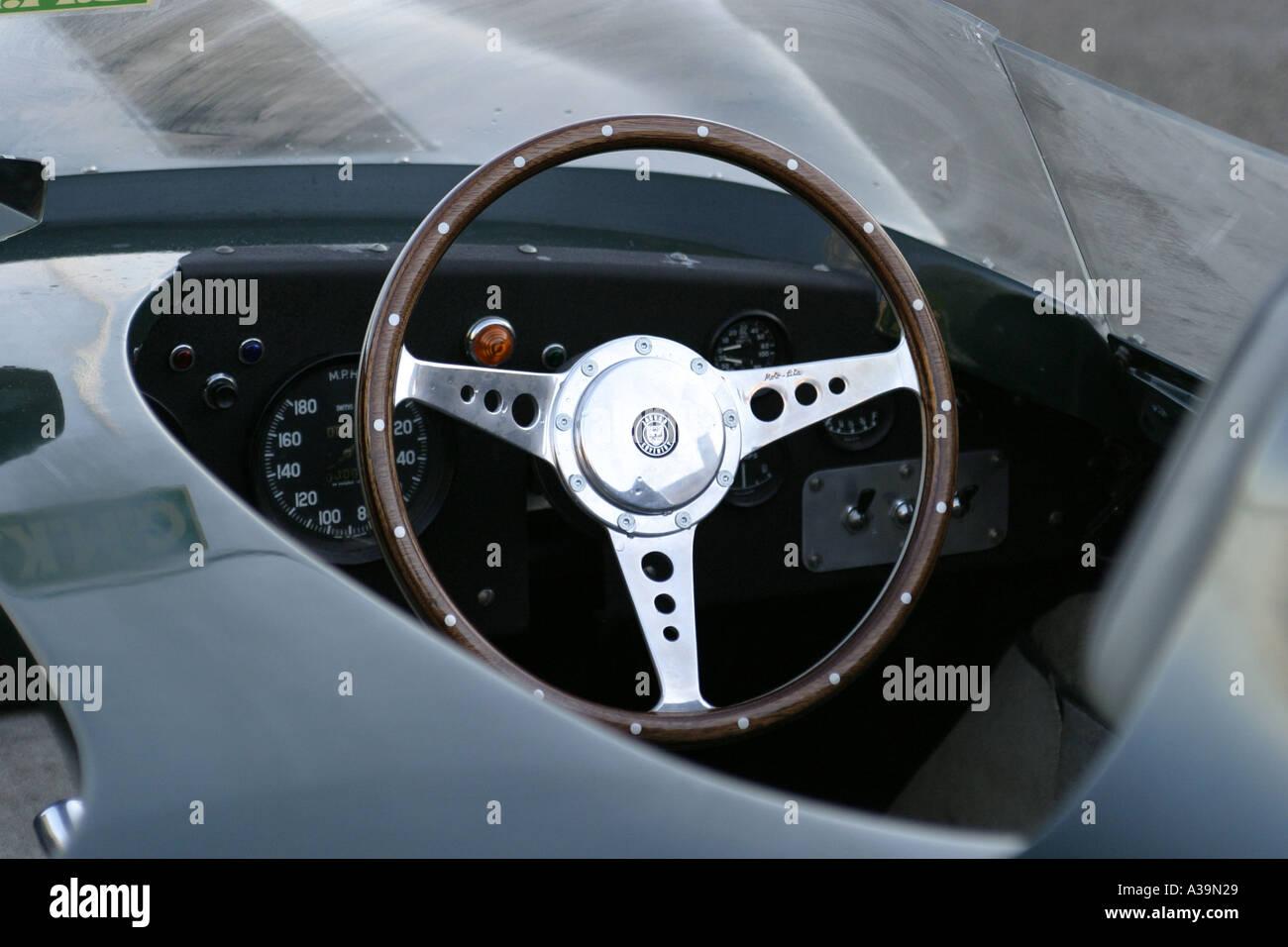 d type jaguar steering wheel and dashboard outside hillsborough stock photo royalty free image. Black Bedroom Furniture Sets. Home Design Ideas