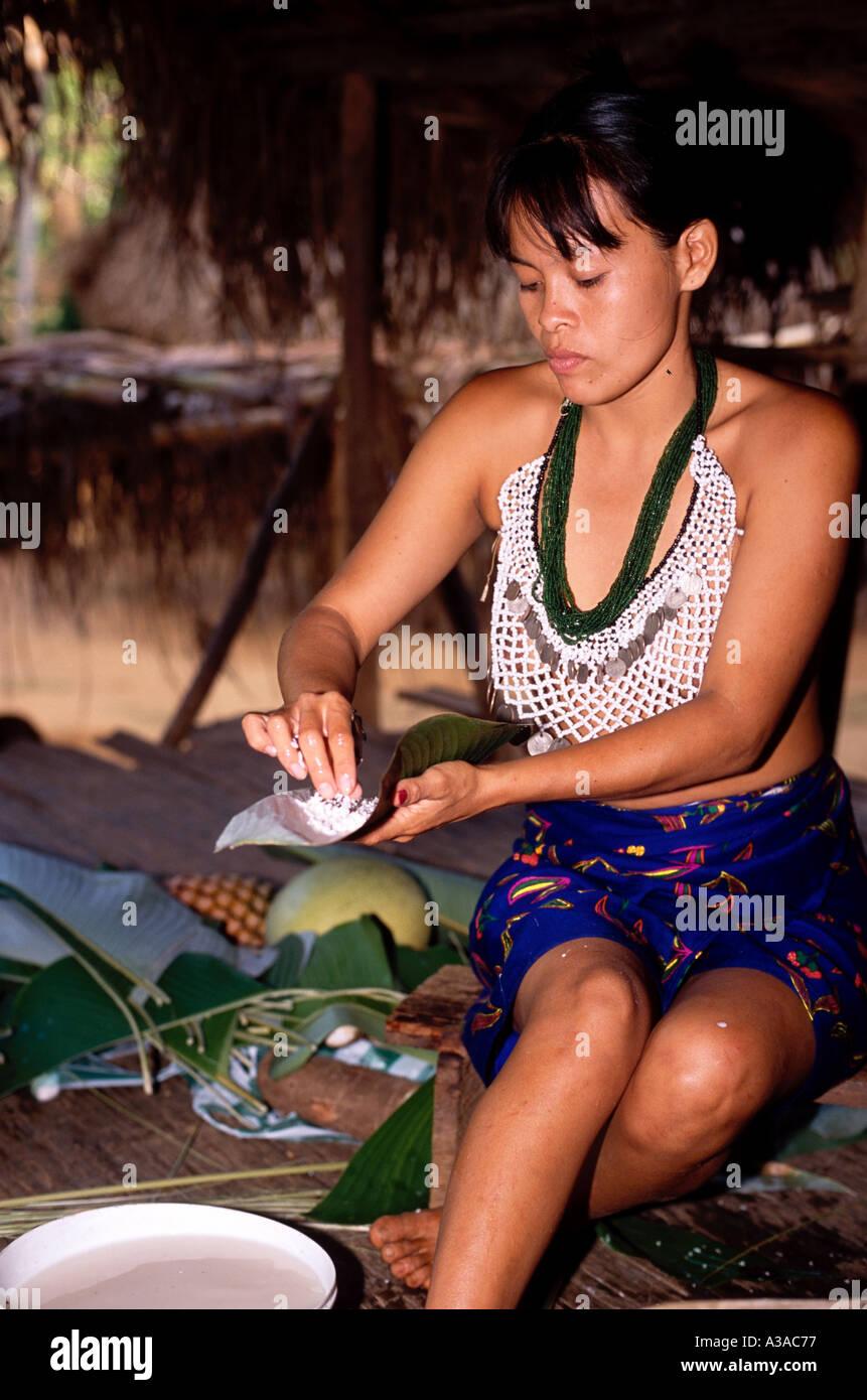 Embera Native Indigenous People Of Darien Panama Stock