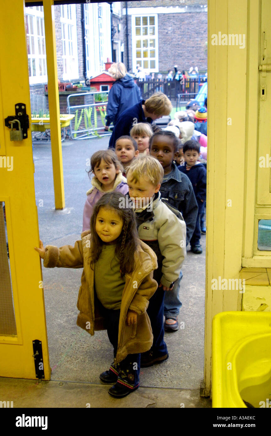 Nursery children arriving at school Stock Photo, Royalty ...