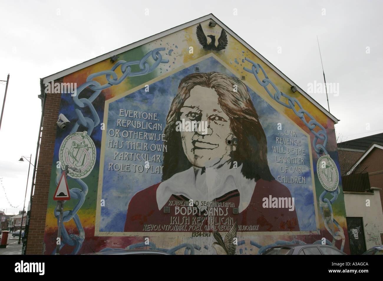 Bobby sands wall mural sevastopol street falls road sinn for Bobby sands mural falls road