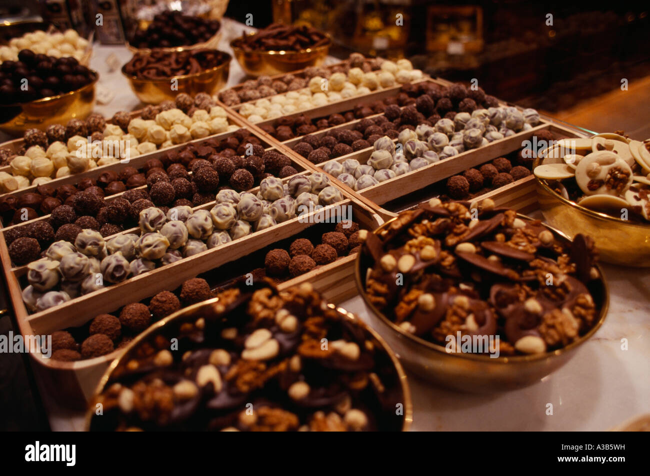 BELGIUM Brabant Brussels Food Sweets Display of Belgian chocolate ...