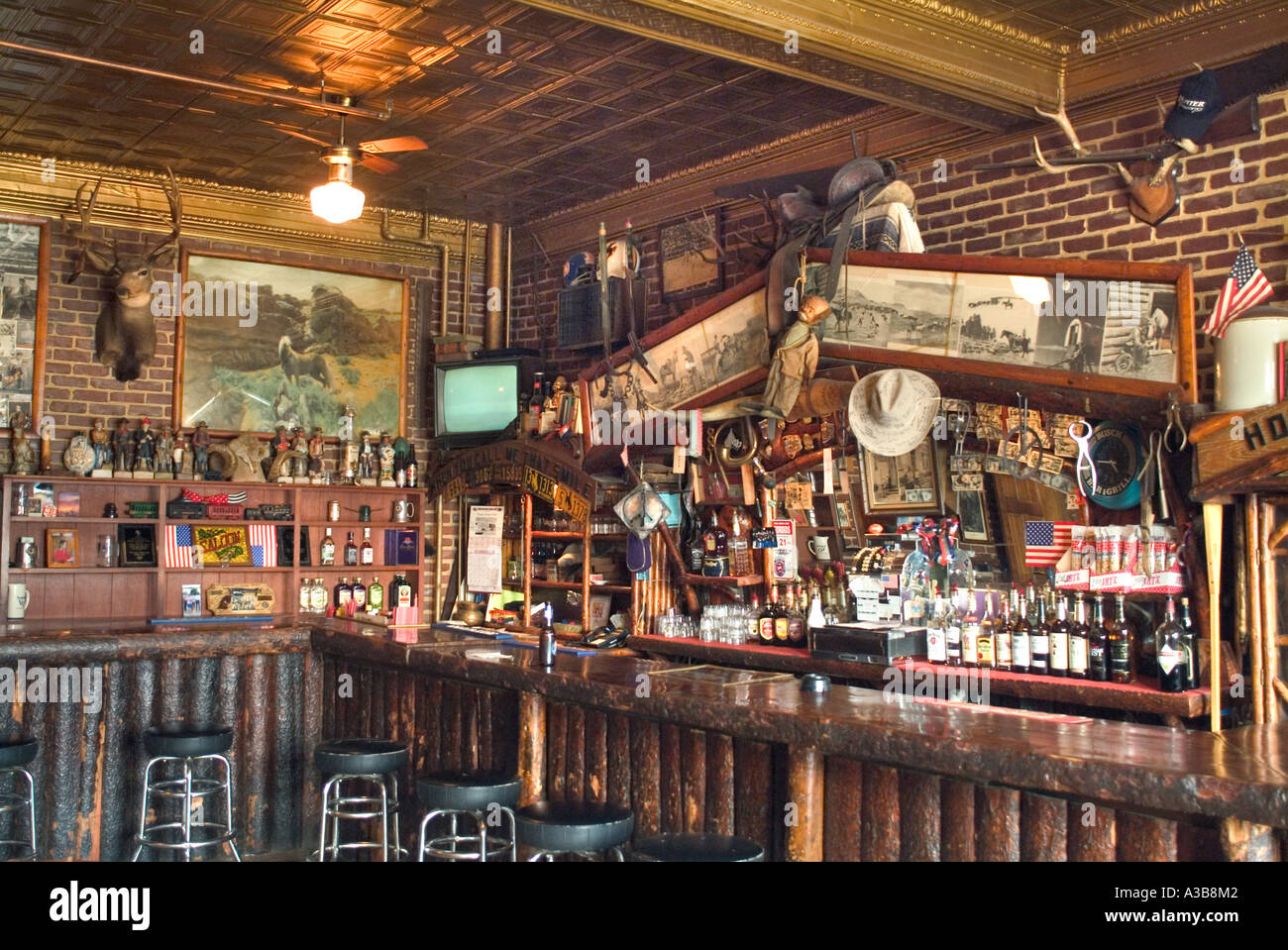 Rustic Western Bar In Medicine Bow Wyoming Stock Photo