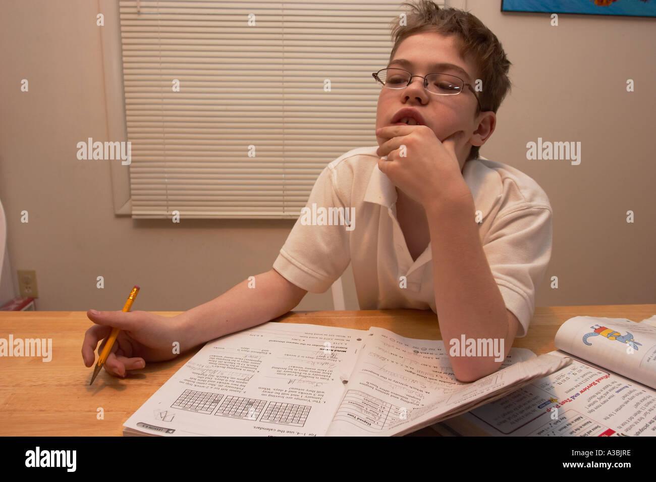 Teen Boy Doing Homework Stock Photos  Royalty Free Images