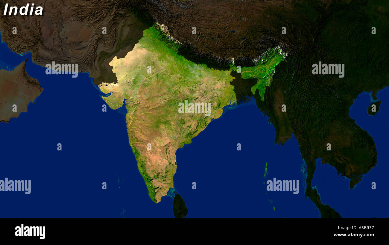 Satellite Image Of India Highlighted Stock Photo Royalty Free - World map by satellite of india