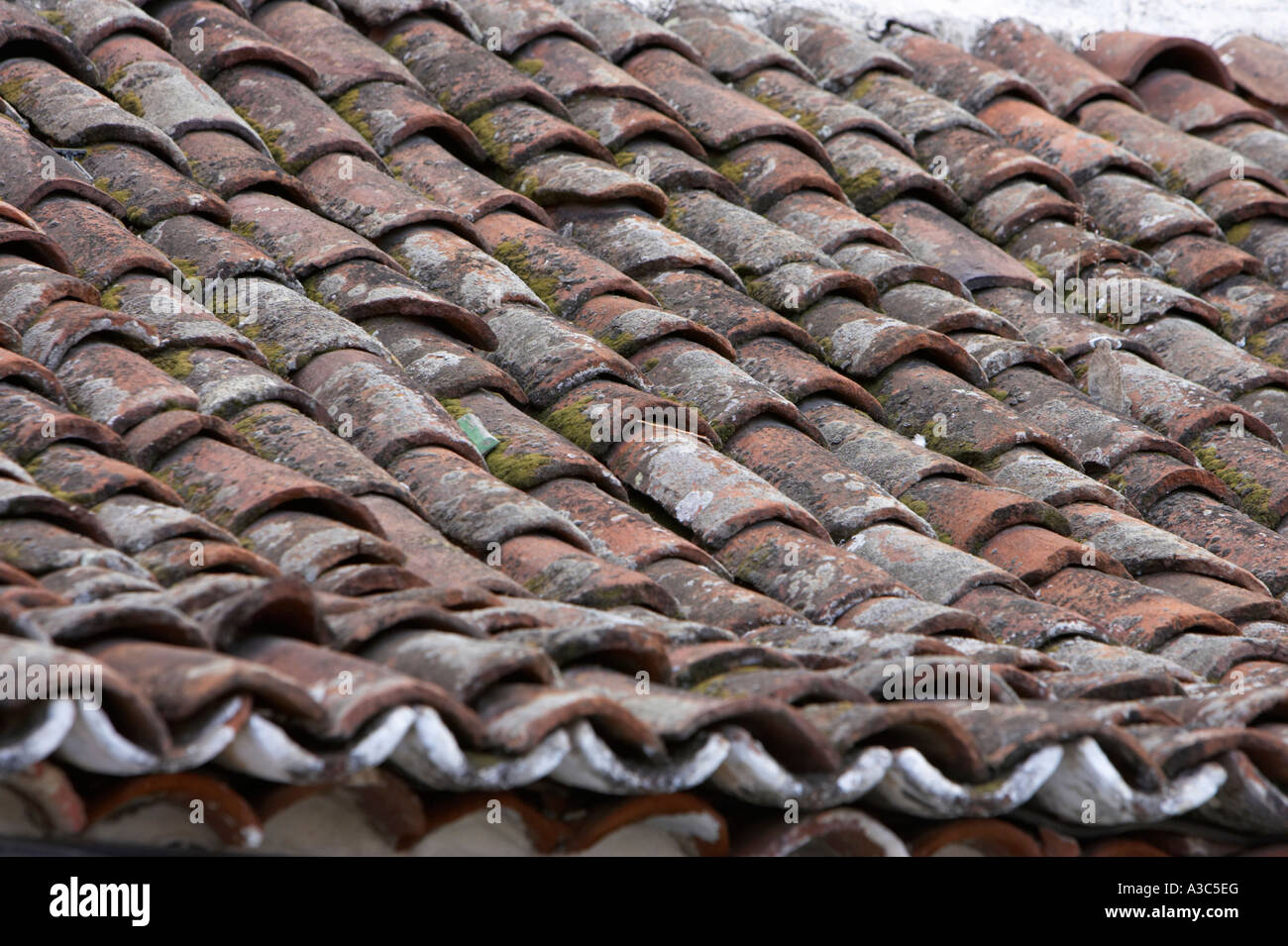 Stock Photo   Old House Roof Tiled With Traditional Old Spanish Roof Tiles  Tenerife Canary Islands Spain