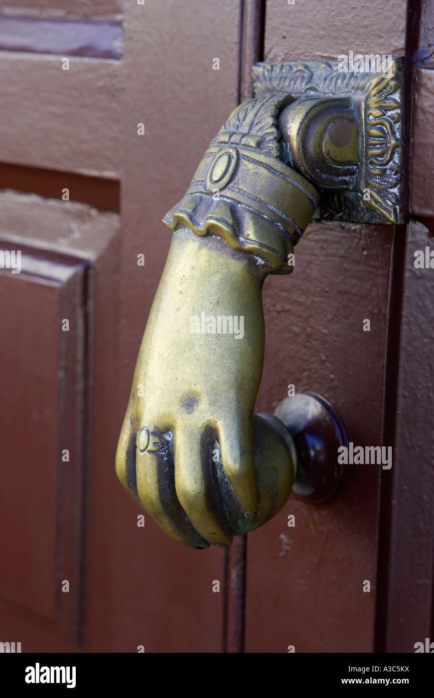 Traditional Antique Brass Hand And Ball Door Knocker On