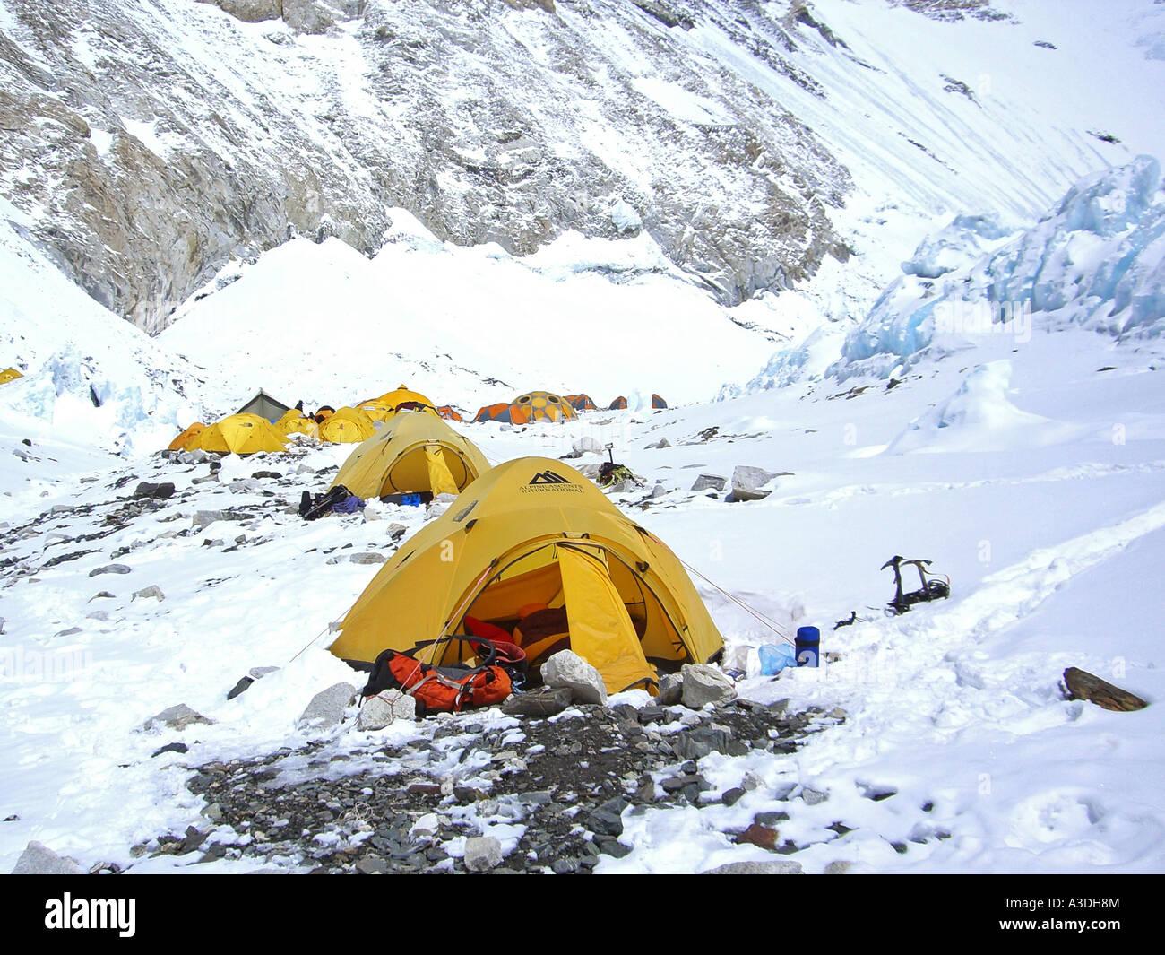 Yellow tents in C& II 2 ca. 6500m Western C& Mount Everest Himalaya Nepal & Yellow tents in Camp II 2 ca. 6500m Western Camp Mount Everest ...