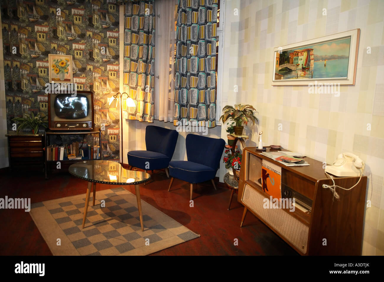 Reproduction of a typical west-german living room from the fifties ...