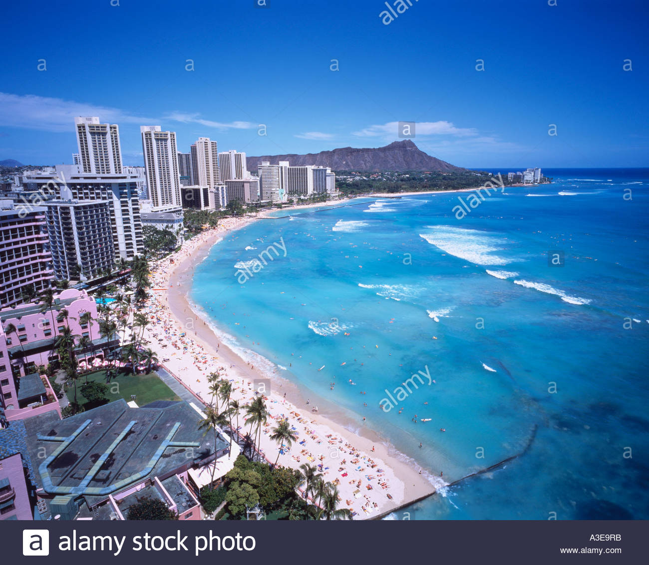 Stock photo waikiki beach diamond head resort oahu hawaii united states of america sky clouds building sea sandy beach ship people