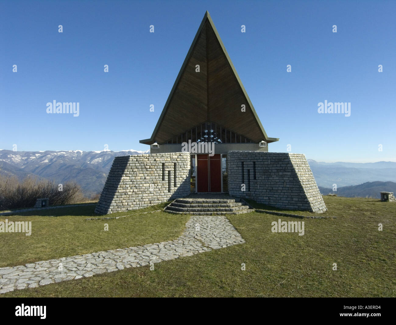 Modern Architecture In Italy modern church high in the appenine mountains northern italy stock