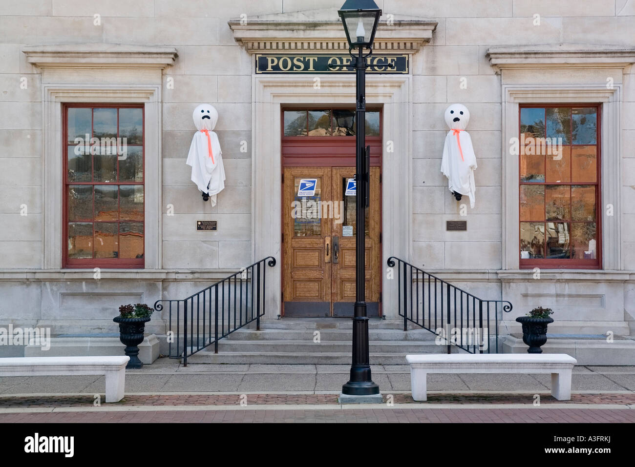 galena illinois usa us post office customs house with halloween decorations