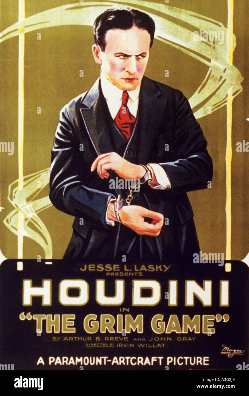 grim game poster for the 1919 silent film starring harry houdini stock image