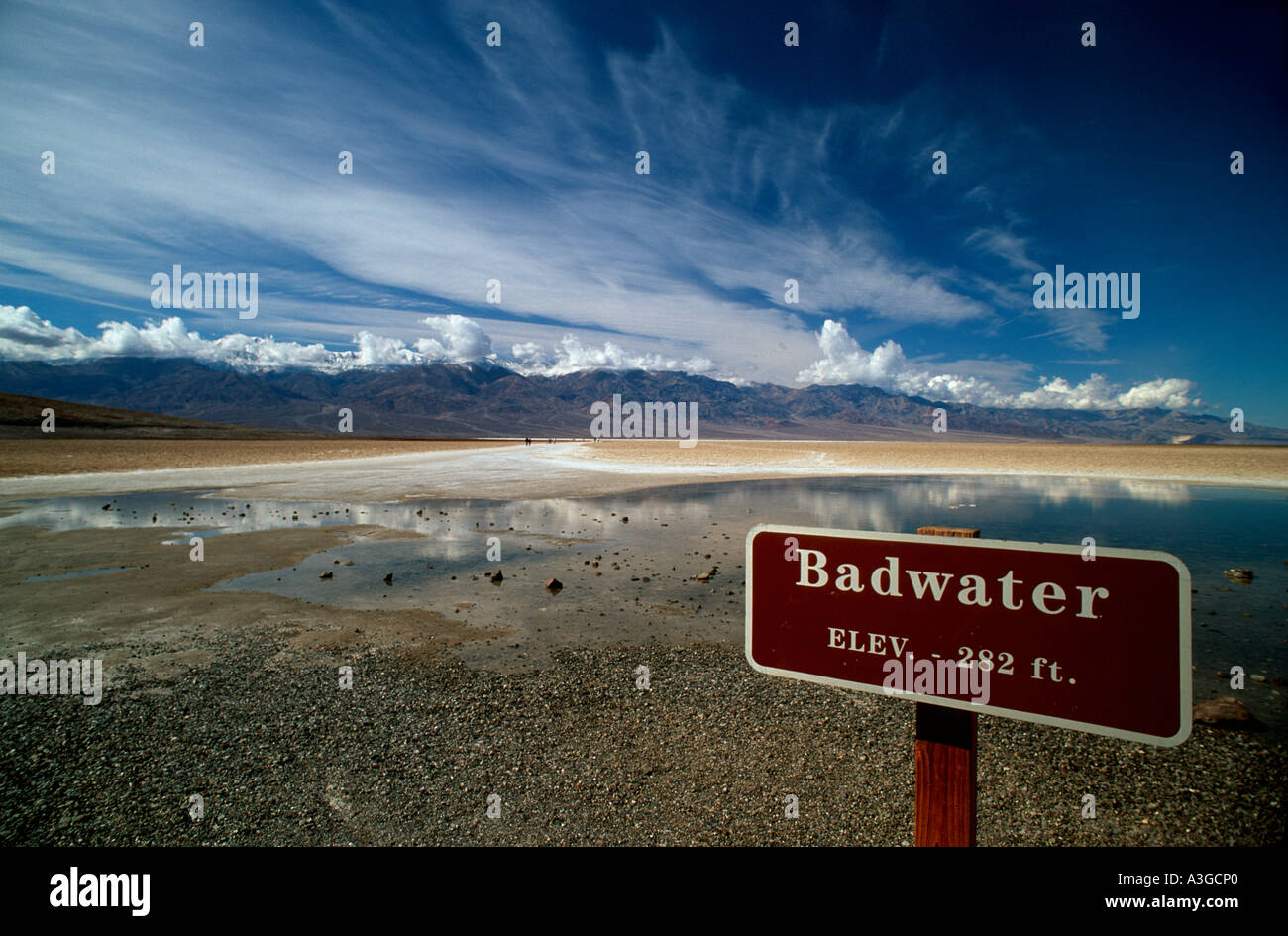 Alkaline Salt Pools At Badwater Lowest Elevation Point In The - Elevation point