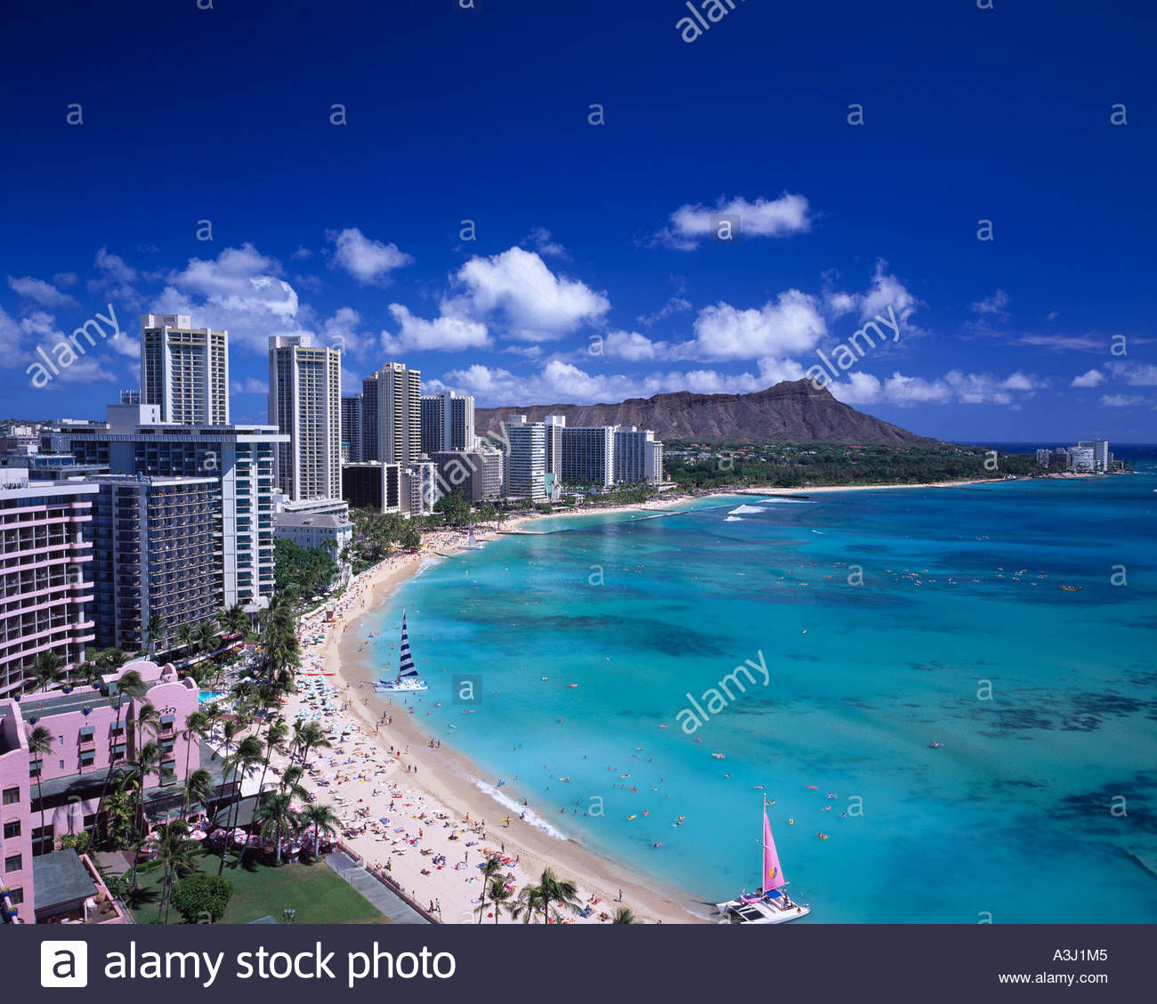 Stock photo waikiki beach resort blue sky sea oahu hawaii united states of america sandy beach hotel building