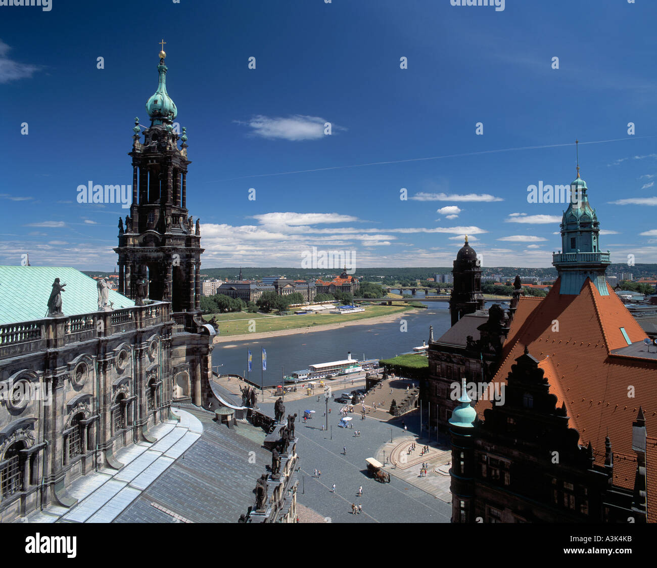 elbepromenade mit altstadtblick und hofkirche in dresden elbe stock photo royalty free image. Black Bedroom Furniture Sets. Home Design Ideas