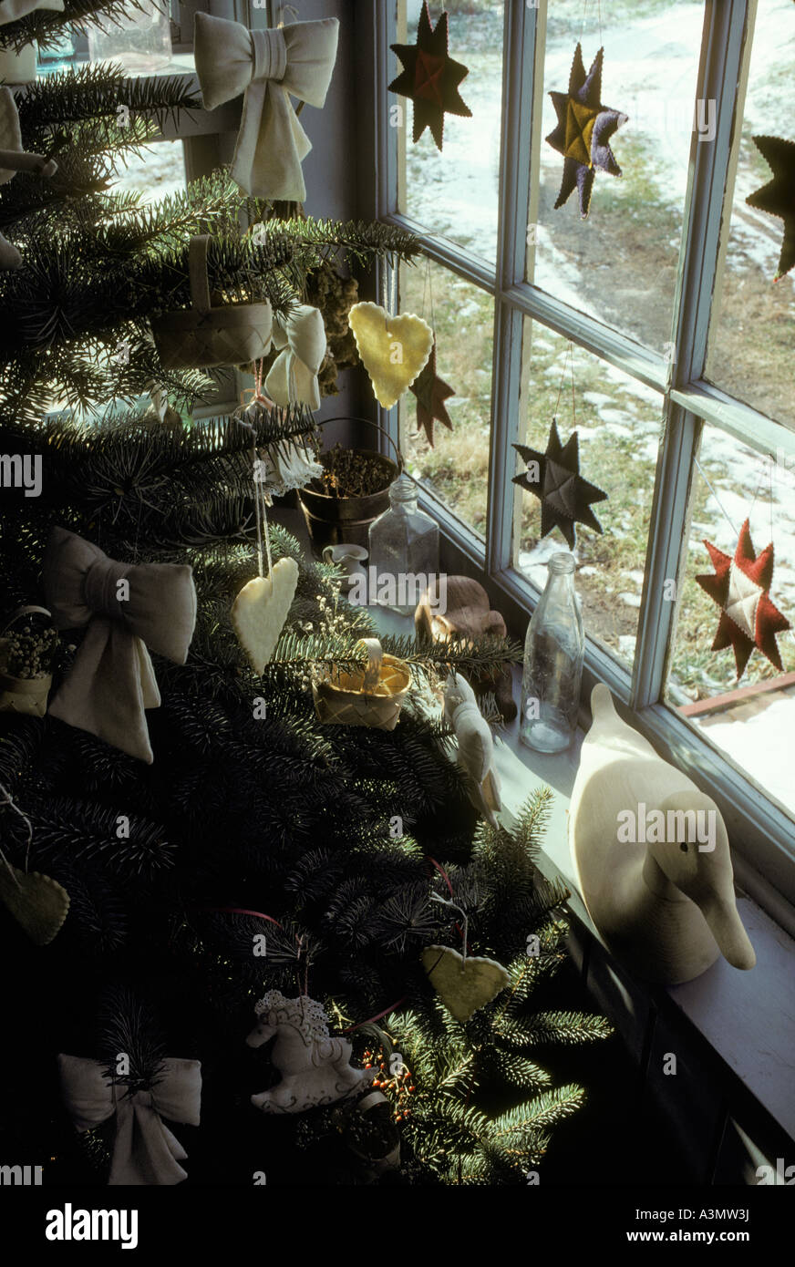 Stock Photo Home House Window Christmas Decorations Hearts Stars Cookies Tree Branch Wooden Decoy Duck
