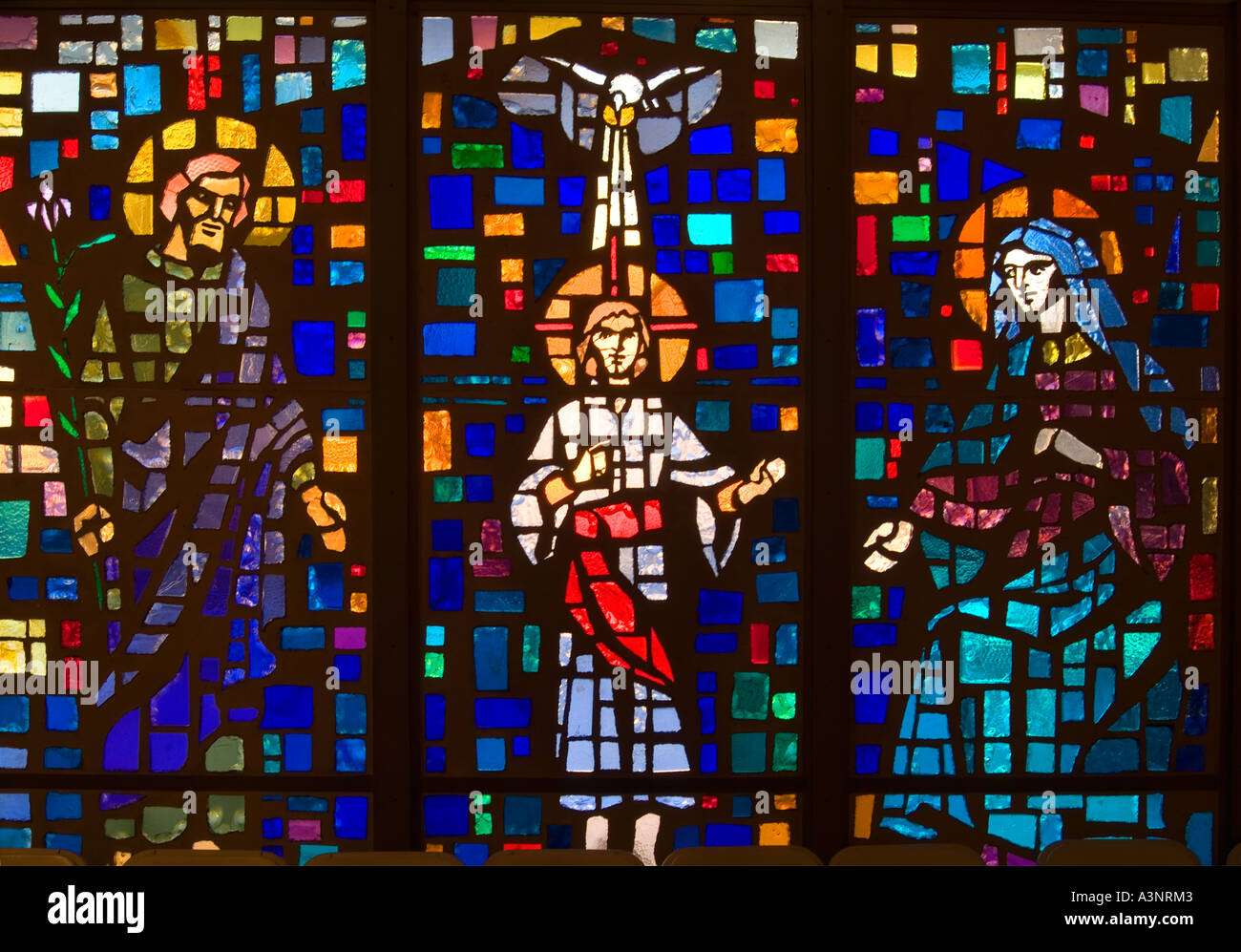 Roman Catholic Church Stained Glass Window Depicting Jesus Christ And The Holy Family Mary Joseph