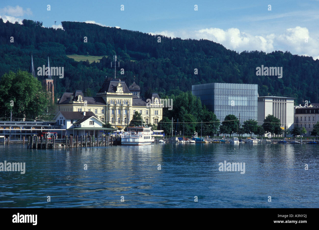 skyline of bregenz with the kunsthaus bregenz museum bregenz lake stock photo royalty free. Black Bedroom Furniture Sets. Home Design Ideas