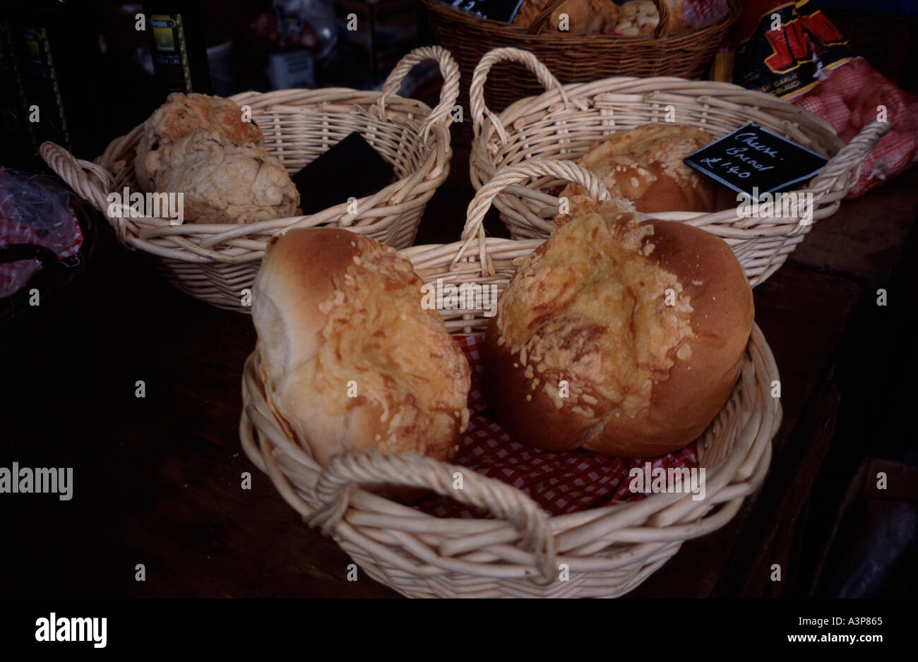 Freshly Baked Wholemeal Bread Rolls In A Basket For Sale At The Farmers Market Green Park Bath Spa Somerset England Uk