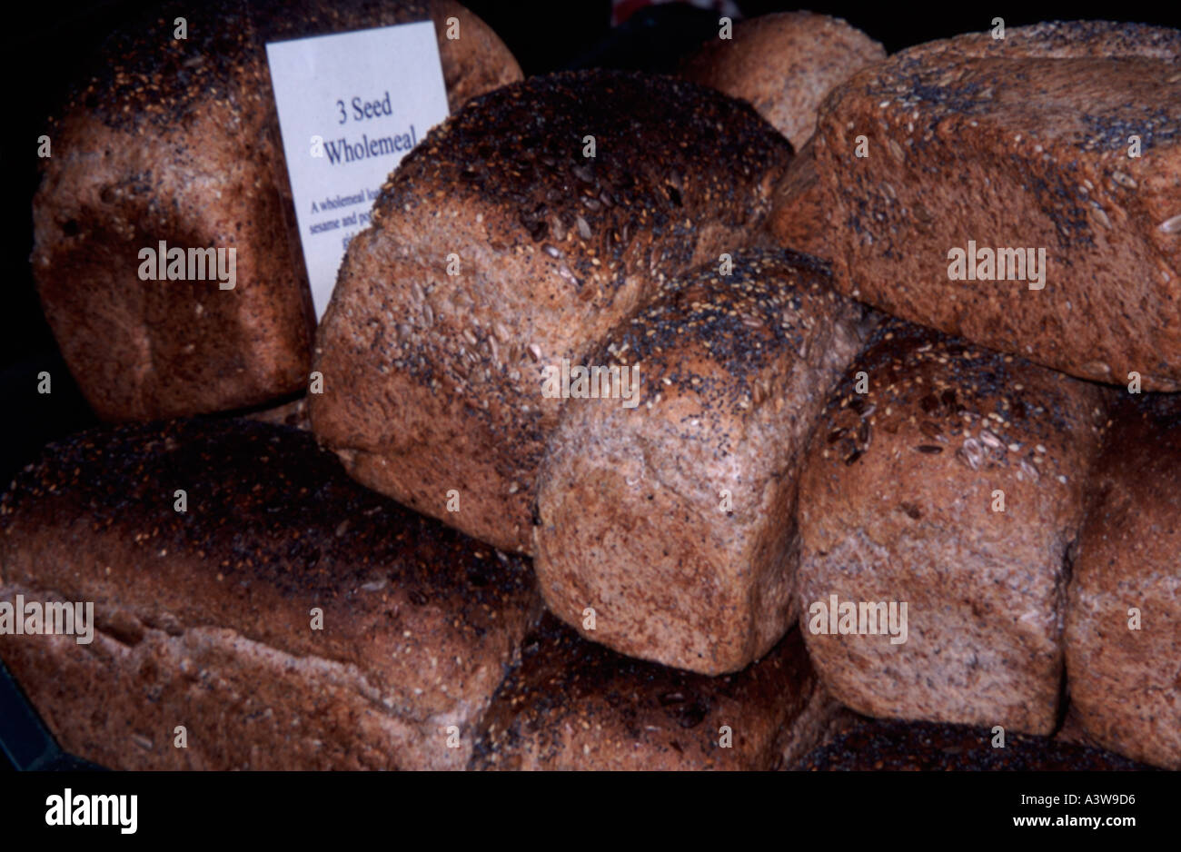 Freshly Baked Wholemeal Bread Loaves In A Basket For Sale At The Farmers Market Green Park Bath Spa Somerset England Uk