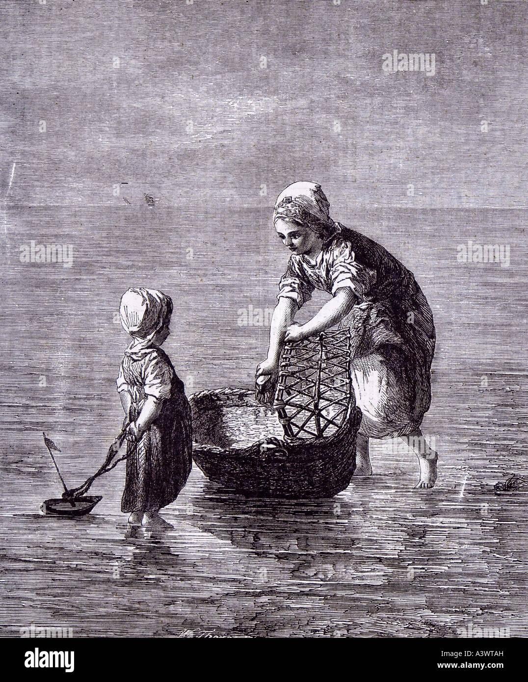 Baby cribs moses baskets - Dutch Artist Art Child Sister Sea Boat Moses Basket Baby Bed Cot Crib Babyhood Stock