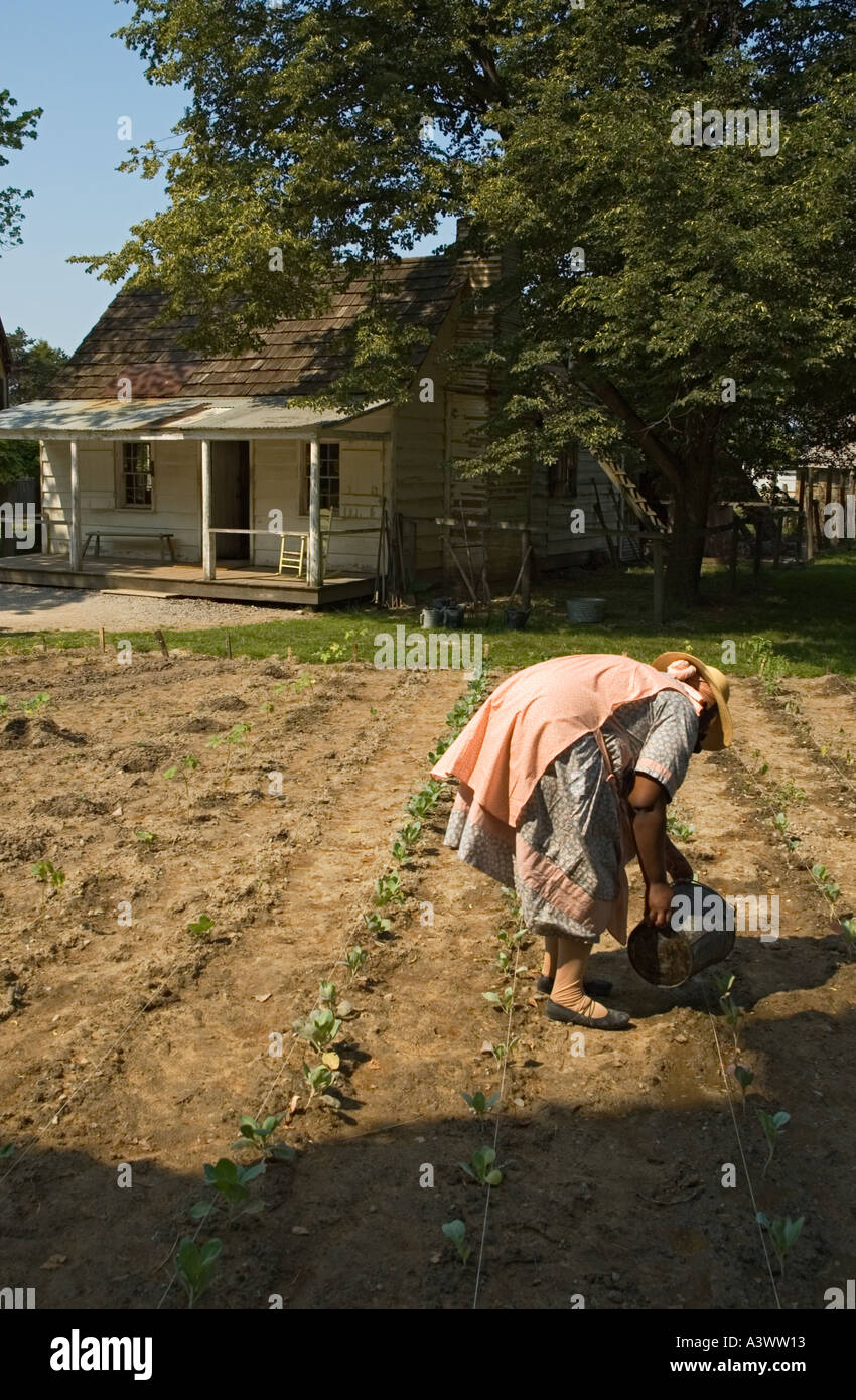 Michigan dearborn the henry ford greenfield village mattox family home african american reenactor tending garden