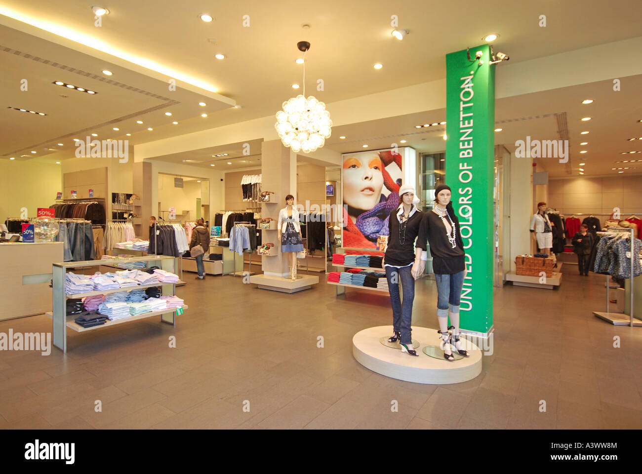 Open Store Doors open plan entrance without doors to benetton clothing store seen
