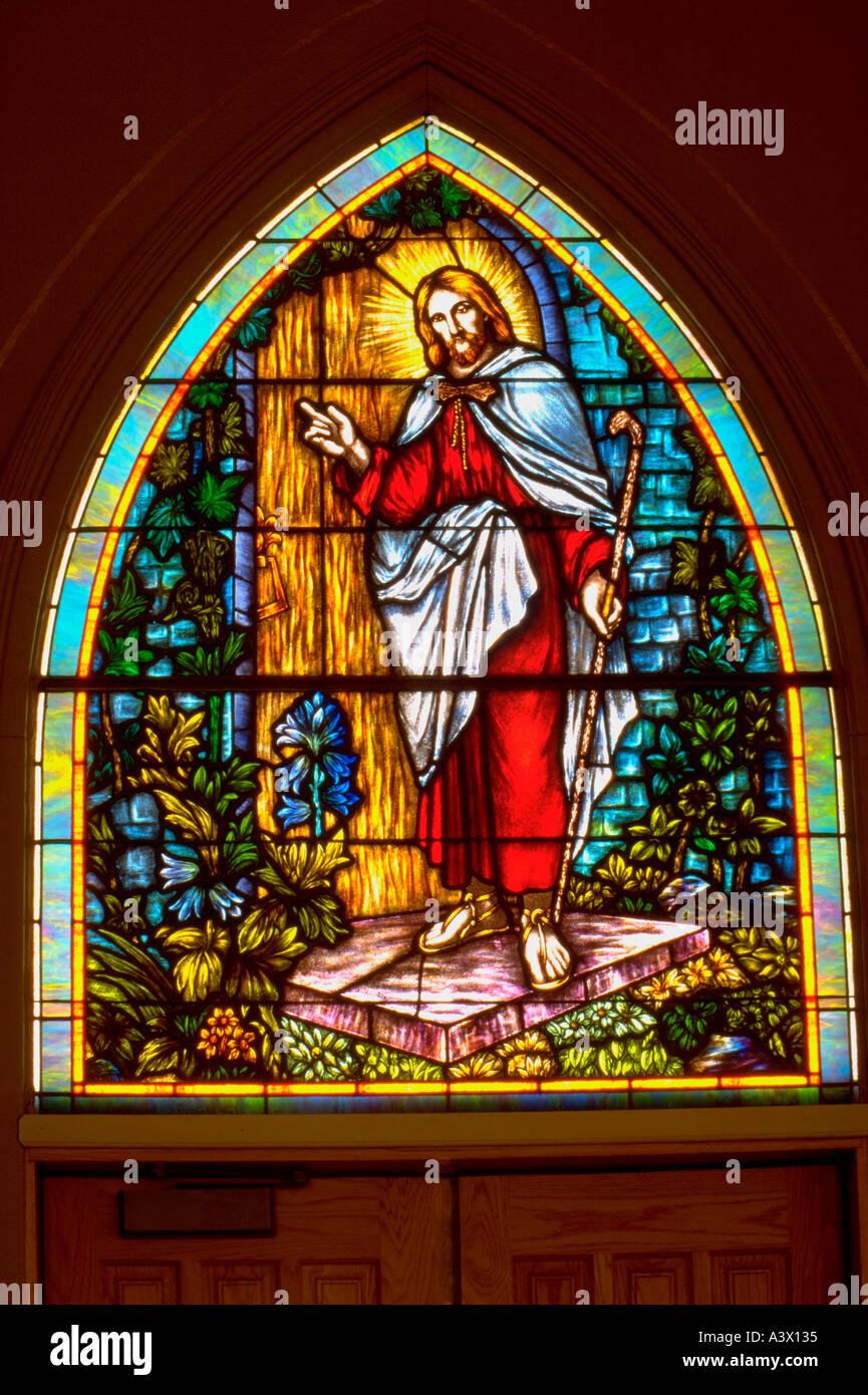 Stained Glass Window Of Jesus Knocking At The Door Vasa Lutheran Church Minnesota USA