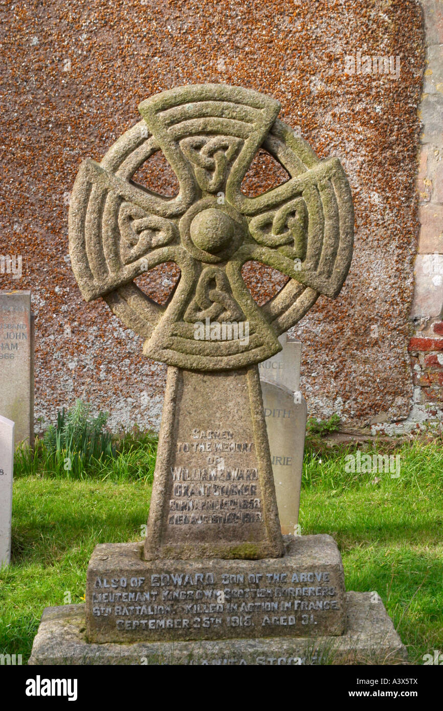celtic cross headstone in cemetery stock photo royalty free image