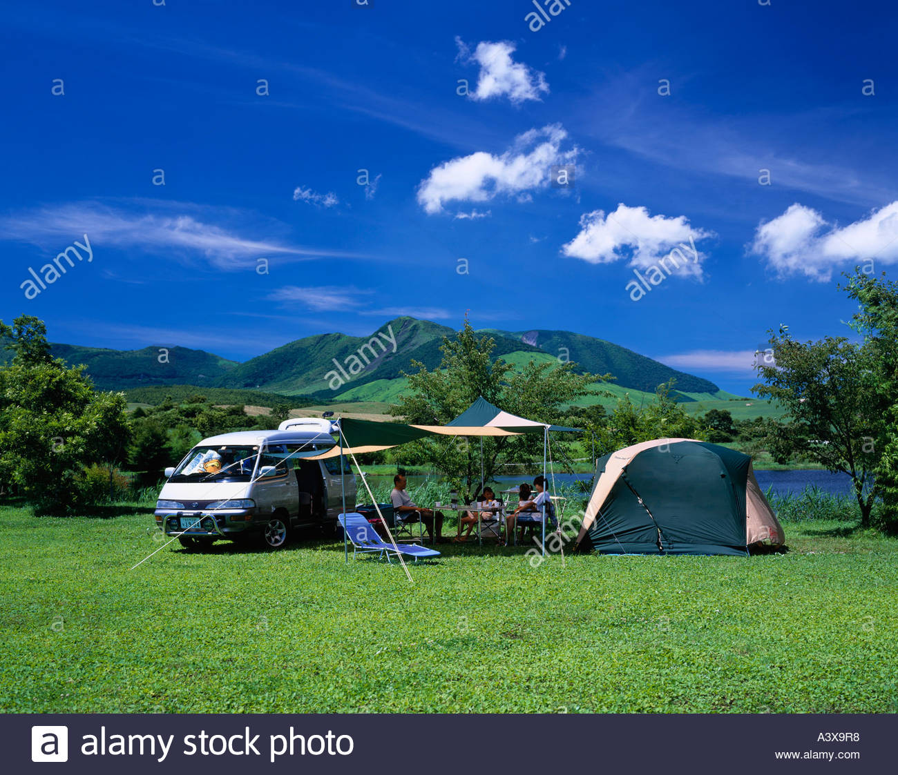 Blue sky Clouds Mountain Green Grassy place C&er Tent Turf Resort Auto c&ing Handa Highland Kokonoe Oita Japan & Blue sky Clouds Mountain Green Grassy place Camper Tent Turf ...