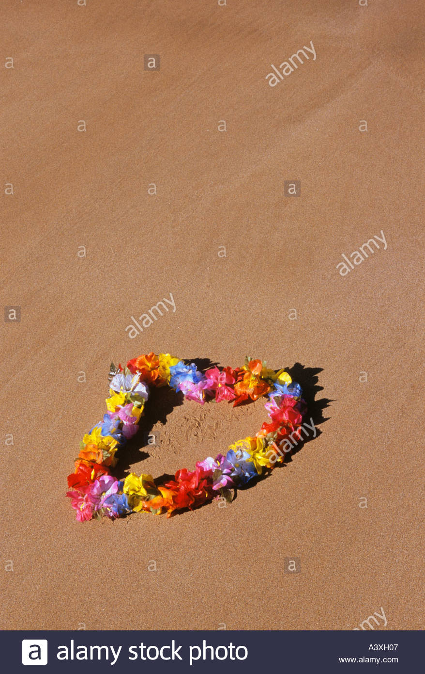 Flower garland or lei on the beach at wailea on the island of maui flower garland or lei on the beach at wailea on the island of maui in the state of hawaii usa izmirmasajfo Images