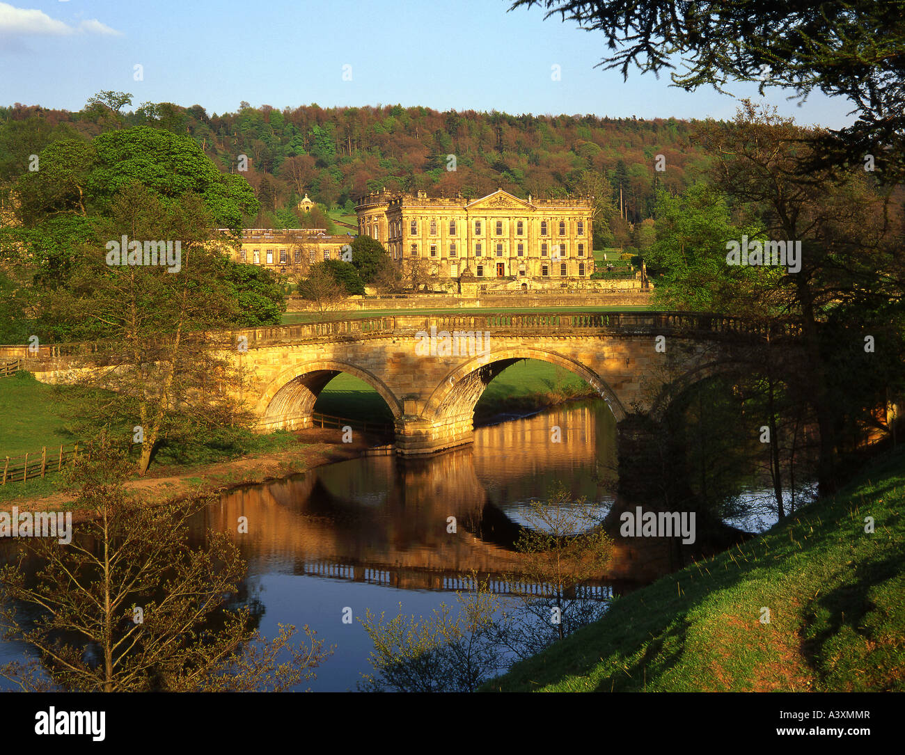 Chatsworth 3 Piece Traditional White Suite: Chatsworth House And The River Derwent, Peak District