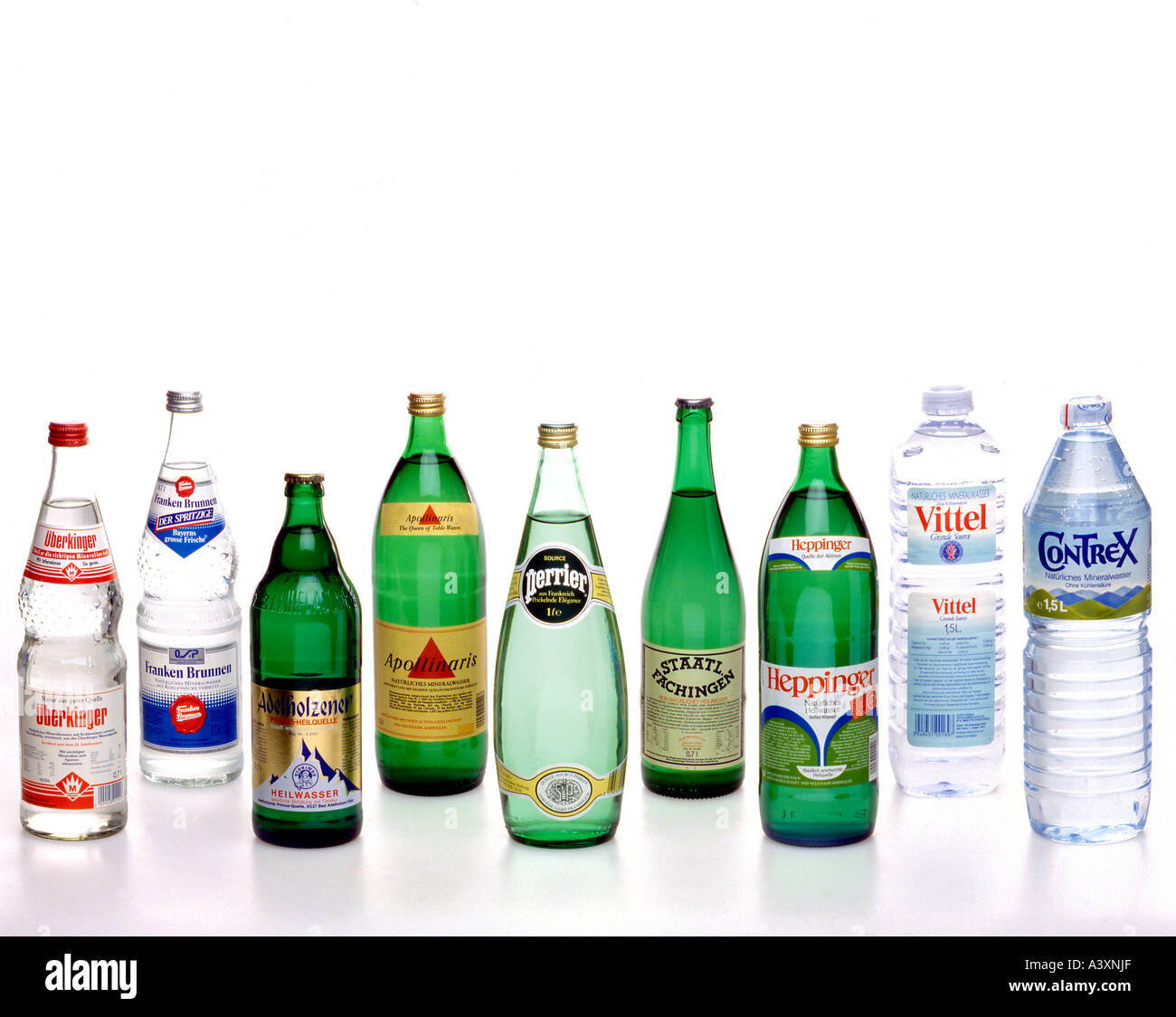 Different kinds of mineral water in bottles stock photo for Different type of water