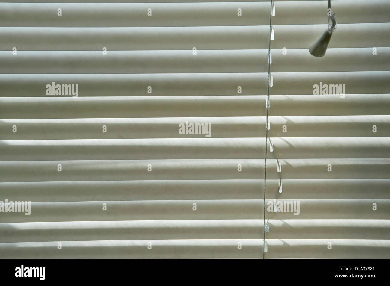 white plastic venetian blinds on window stock photo. Black Bedroom Furniture Sets. Home Design Ideas