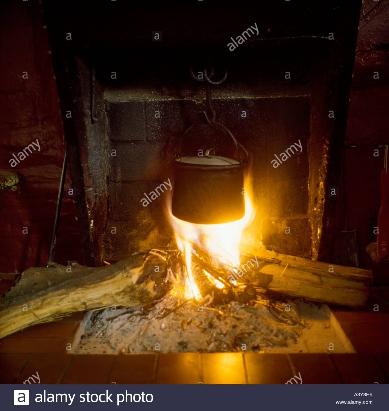 pot on traditional fireplace in ancient cottage canton of ticino ...