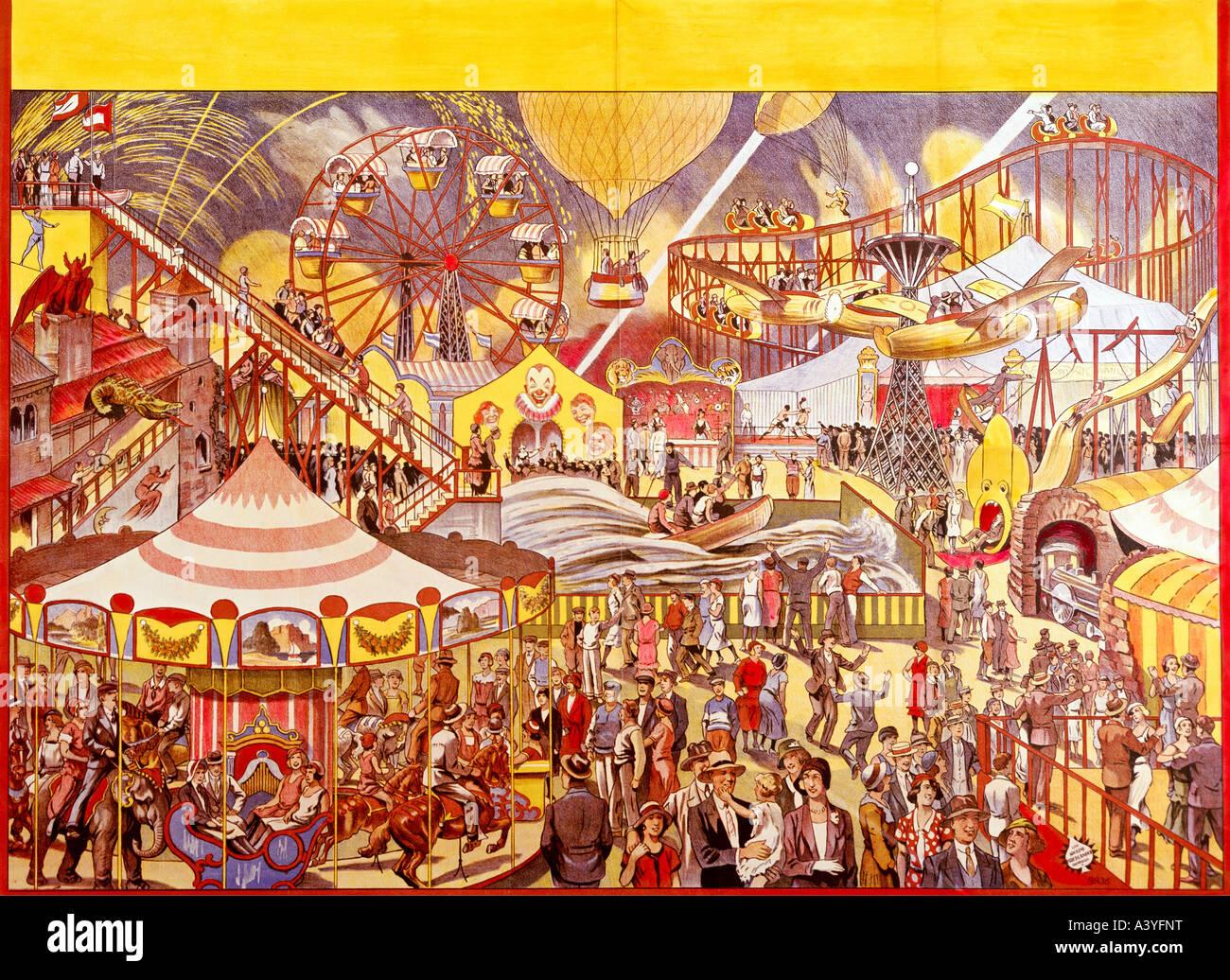 festivity, fairs, fairground with carousel, roller coaster and ...