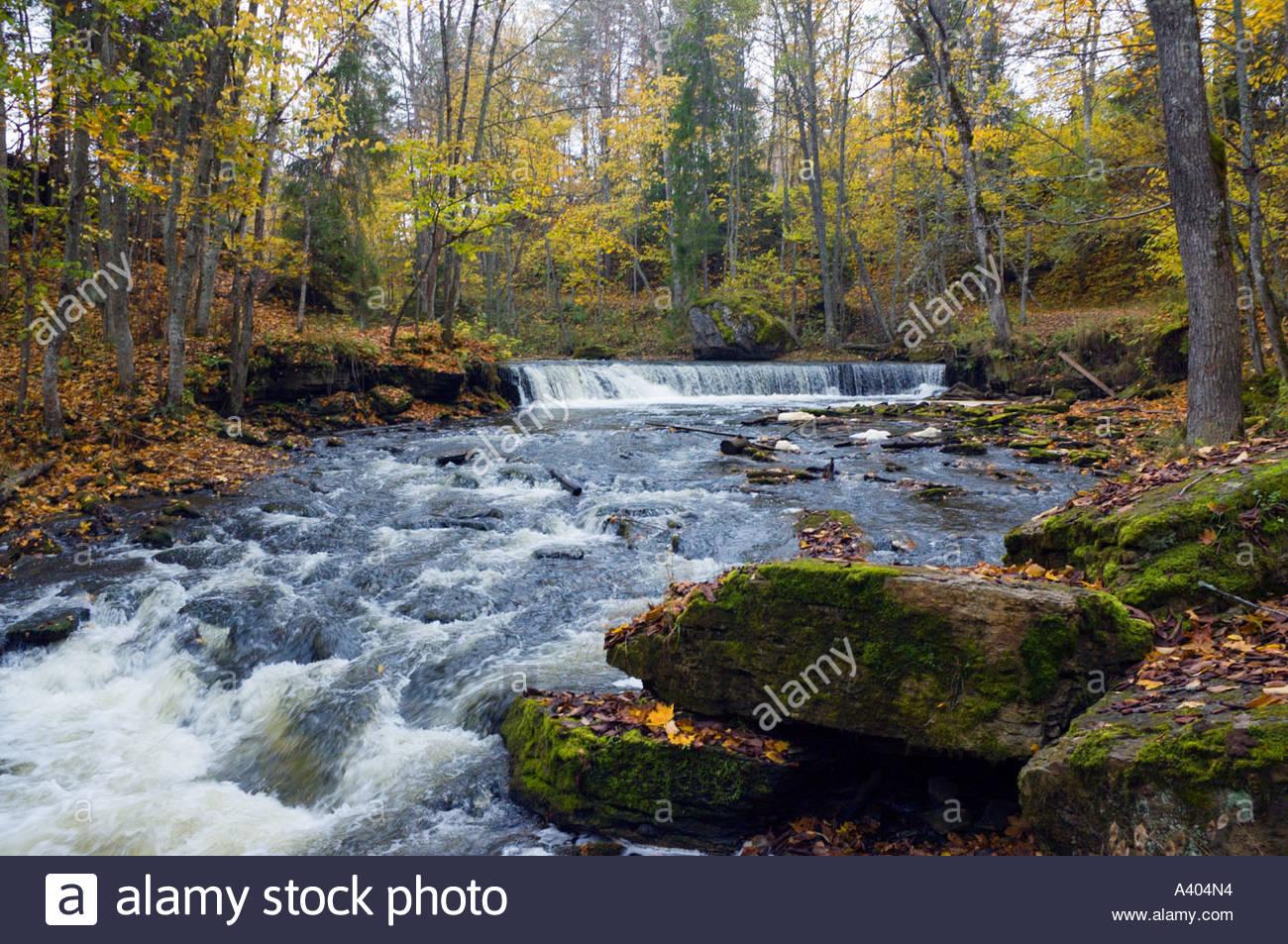 Europe eu estonia lahemaa national park nommeveski n mmeveski waterfall river valgejogi valgej gi autumn